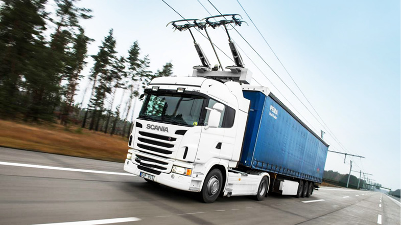 Truck on electric highway